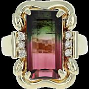 Watermelon Tourmaline & Diamond Ring - 14k Yellow Gold 8.53ctw