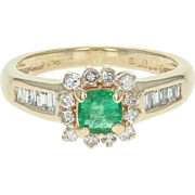 Emerald & Diamond Halo Ring - 14k Yellow Gold Cushion Cut .93ctw