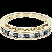 Sapphire & Diamond Wedding Band - 14k Gold Women's Ring Round Brilliant .59ctw