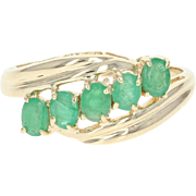 Five-Stone Emerald Bypass Ring - 14k Yellow Gold Oval Brilliant .65ctw