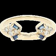 Diamond & Sapphire Enhancer Wedding Band - 14k Gold Guard Ring Round .18ctw