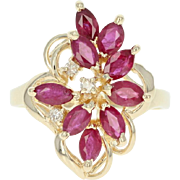 Ruby & Diamond Cluster Ring - 14k Yellow Gold Marquise Brilliant 1.64ctw