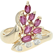 Ruby & Diamond Bypass Ring - 14k Yellow Gold Marquise Brilliant 1.03ctw