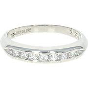 Vintage Diamond Wedding Band - Platinum Women's Ring Round Cut .25ctw