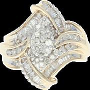 Diamond Bypass Ring - 10k Yellow Gold Size 7 Round Brilliant 1.00ctw