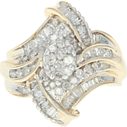 Diamond Bypass Ring - 10k Yellow Gold Size 7 Round Brilliant 1.00ctw
