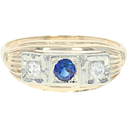 Vintage Synthetic Sapphire & Diamond Ring - 14k Yellow Gold .25ctw
