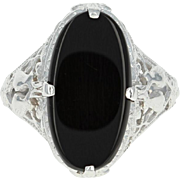 Art Deco Onyx Filigree Ring - 14k White Gold Vintage Love Birds Size 4 1/2