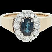 Sapphire & Diamond Halo Ring - 14k Gold Euro Shank Oval Brilliant .89ctw