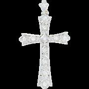 Edwardian Diamond Cross Pendant - 14k White Gold Vintage Mine Cut .60ctw
