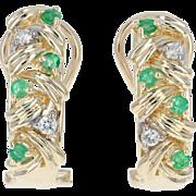 Emerald & Diamond J-Hoop Earrings - 14k Gold Pierced Round Brilliant .42ctw