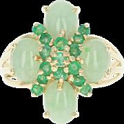 Emerald & Jadeite Ring - 14k Yellow Gold Round Brilliant & Cabochon 2.78ctw