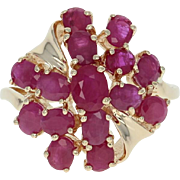 Ruby Cluster Cocktail Ring - 14k Yellow Gold Bypass Oval Brilliant 2.75ctw