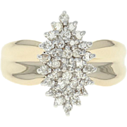 Diamond Cluster Ring - 14k Yellow Gold Round Brilliant .50ctw