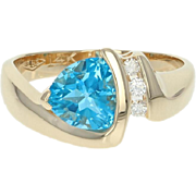 Blue Topaz & Diamond Bypass Ring - 14k Yellow Gold Trillion Brilliant 1.76ctw