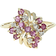 Ruby & Diamond Cluster Bypass Ring - 14k Yellow Gold Round Brilliant .64ctw