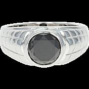 Black Diamond Ring - 18k White Gold Men's Size 7 1/2 - 7 3/4