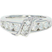 Diamond Crossover Ring - 14k White Gold Size 6 Round Cut 1.26ctw