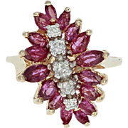 Ruby & Diamond Cluster Bypass Ring - 14k Yellow Gold Marquise Brilliant 1.89ctw