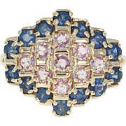 Pink & Blue Sapphire Ring - 14k Gold Cluster Halo Round Brilliant 2.48ctw