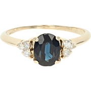Sapphire & Diamond Ring - 14k Yellow Gold Oval Brilliant 1.35ctw
