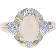 Opal & Diamond Ring - 14k Yellow Gold Oval Cabochon 1.03ctw