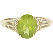 Peridot Solitaire Ring - 10k Yellow Gold Size 9 Oval 2.50ct