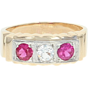 Vintage Syn. Sapphire & Syn. Ruby Ring - 14k Gold Men's Round Brilliant 1.02ctw