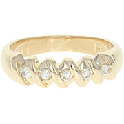 Five-Stone Diamond Ring - 14k Yellow Gold Anniversary Round Cut .20ctw