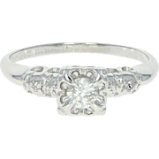 Vintage Diamond Engagement Ring - 14k White Gold Round Cut .25ctw
