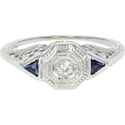 Art Deco Belais Diamond & Synthetic Sapphire Ring - 18k Gold Vintage European