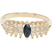 Sapphire & Diamond Ring - 14k Yellow Gold Size 7 1/2 Marquise .46ctw