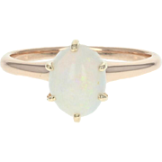 Vintage Opal Solitaire Ring - 10k Rose Gold Oval Cabochon 1.05ct