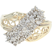 Diamond Cluster Bypass Ring - 10k Yellow Gold Round Brilliant .54ctw