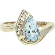 Aquamarine & Diamond Bypass Ring - 10k Yellow Gold Pear Brilliant 1.25ctw