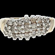 Curved Diamond Ring - 10k Yellow Gold Round Brilliant 1.15ctw