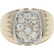 Men's Diamond Ring - 10k Yellow Gold Cluster Round Cut 1.00ctw