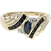 Sapphire & Diamond Bypass Ring - 10k Yellow Gold Marquise Brilliant .81ctw