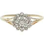Tiered Diamond Cluster Ring - 14k Yellow Gold Size 9 1/2 Round Brilliant .50ctw