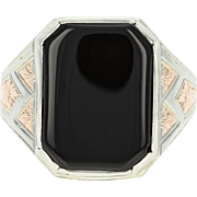 Art Deco Onyx Ring - 14k White Gold Vintage Men's Size 9 1/4 - 9 1/2