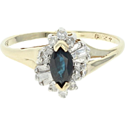 Blue Sapphire Halo Ring - 10k Yellow Gold Marquise Baguette 0.47ctw