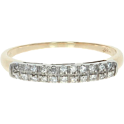 Vintage Diamond-Accented Wedding Band - 14k Yellow Gold Ring Size 6 3/4 - 7