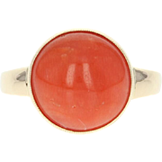 Coral Solitaire Ring - 14k Yellow Gold Cabochon Women's Size 7 3/4
