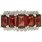Garnet & Diamond Ring - 14k Yellow Gold Five-Stone 4.60ctw
