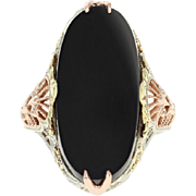 Art Deco Onyx Ring - 14k White Gold Vintage Tri-Tone Filigree Size 4 1/4