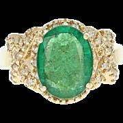 Emerald & Diamond Halo Ring - 14k Yellow Gold Oval 4.16ctw