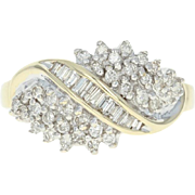 Diamond Cluster Ring - 10k Yellow Gold Round Brilliant .60ctw