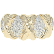 Diamond-Accented Dome Ring - 14k Yellow Gold Single Cut Size 7