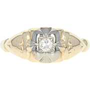 Art Deco Diamond-Accented Ring - 14k Yellow Gold Vintage Women's Size 2 3/4