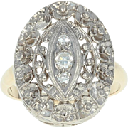 Vintage Etched Flower Blossoms Ring - 14k Gold Diamond Accents Size 5 1/4